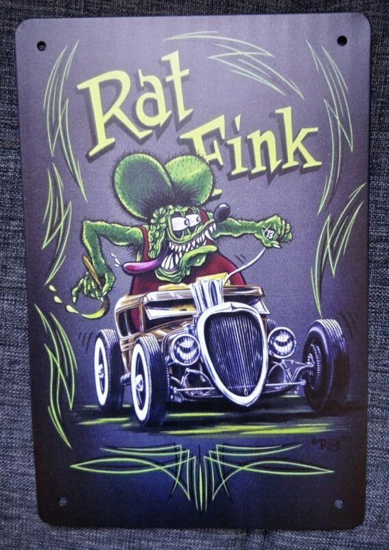 "New Ed Big Daddy Roth Rat Fink Hot Rod Weirdo Art Metal Sign Vintage Tin 8""x12"""