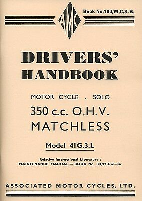 Matchless G3L 41 WD Drivers Handbook AMC Motorcycles Manual