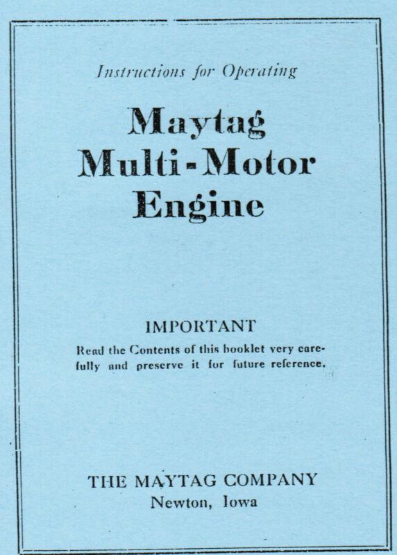 Maytag Multi Motor Gas Engine Motor Washer Book Hit Miss Manual 92 82 72 FYED4