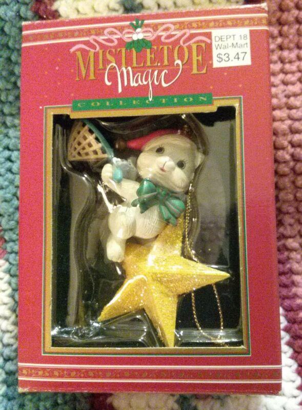 Mistletoe Magic Kitten Riding A Star Christmas Ornament With Box NOS
