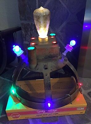 Gemmy Electric Chair Head Gear Shock Helmet Hat Costume Halloween Lights & Sound
