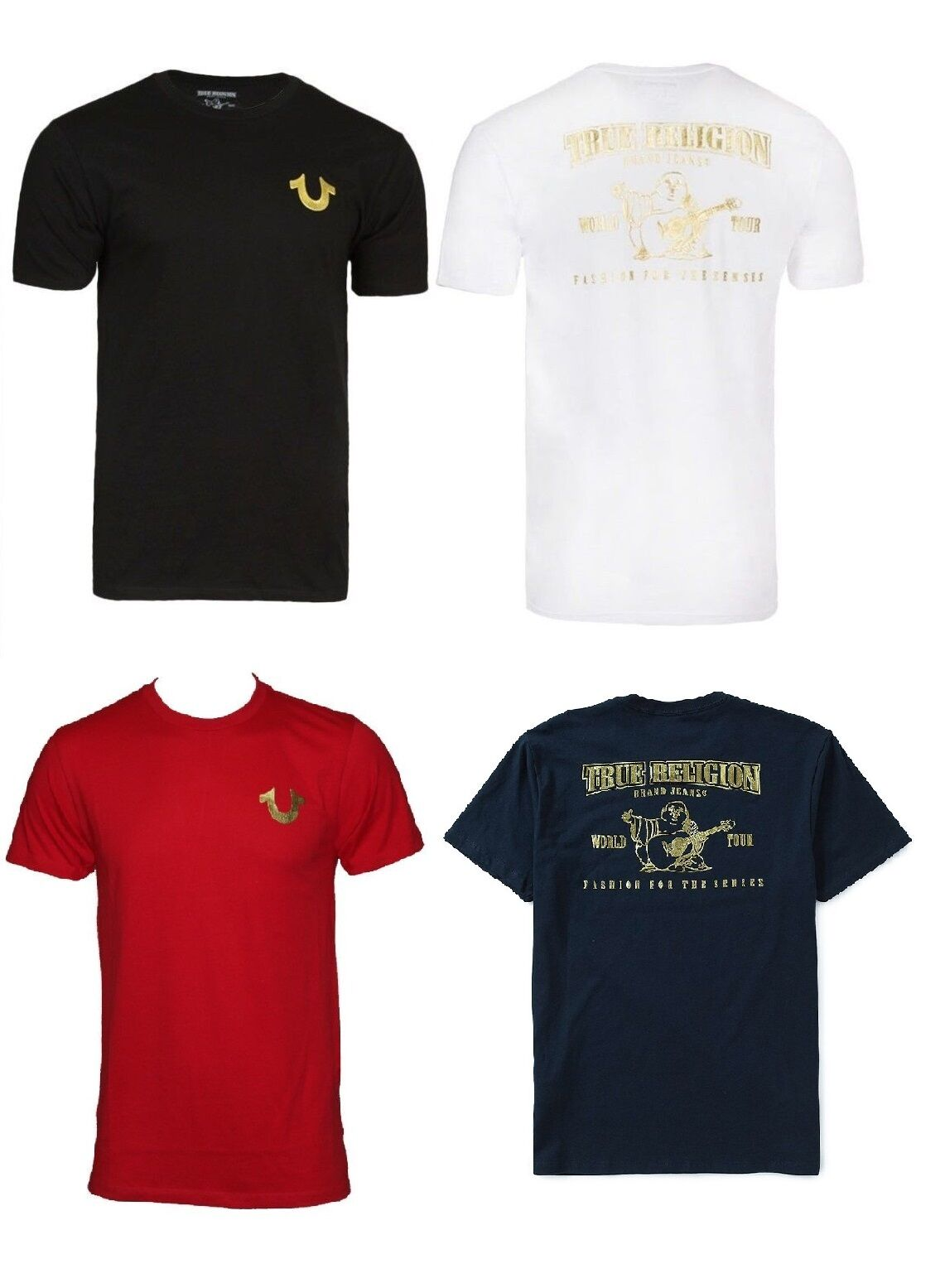 New! True Religion Brand Jeans Men's Gold Buddha Logo Horseshoe Tee T- Shirt