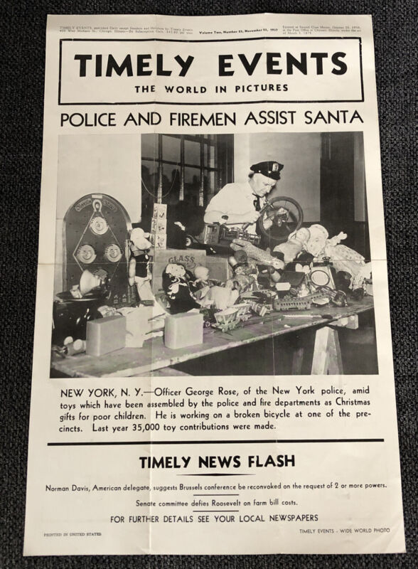 RARE Vintage 1937 Timely Events Newspaper Poster NYPD NYFD Santa Christmas