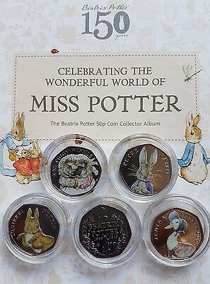 Full Set of Coloured Beatrix Potter 50p Coins Peter Rabbit Jemima Tiggy Squirrel