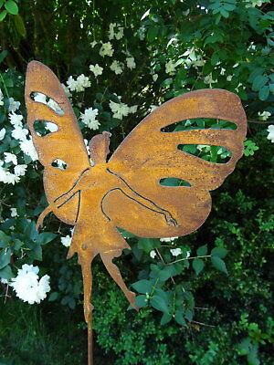 Gartenstecker Fee mit Flügeln aus Metall, 118 cm hoch, Gartendeko Rost Märchen