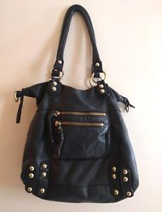 LINEA PELLE DYLAN Black Leather Satchel Hobo Tote