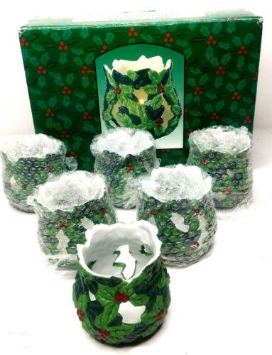 Set  of  6 Porcelain  Christmas  Votive Candle Holders. 11690 NEW no Votives