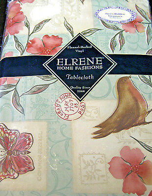 Floral with Robins Flannel Back Vinyl Tablecloths Assorted Sizes Oblong & Round.