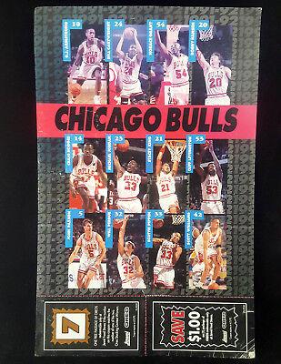 1992 Chicago Bulls Team Photo Promo Coupon Sheet Poster Michael Jordan Pippen
