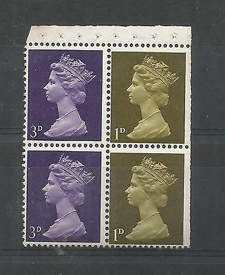 QUEEN ELIZABETH II BOOKLET PAIRS 1d 3d WITH TRIMMED PERFS   REF 394