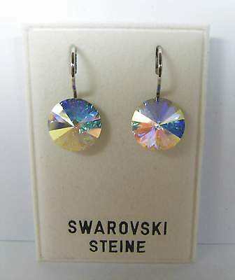 Neu OHRHÄNGER 10mm SWAROVSKI STEINE in kristall AB/crystal AB OHRRINGE (Ab Stein Ohrringe)