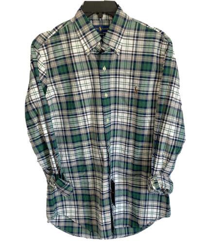 Polo Ralph Lauren Mens Button Down Shirt Medium L/S Green Blue Oxford Classic Casual Button-Down Shirts