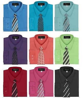 Dress Shirt Boys (Boy's Dress Shirt & Tie Set Long Sleeve- Many Colors)