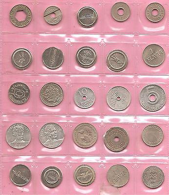 100 tokens / machine tokens / coins / jetons British & European. Nice mixture C.