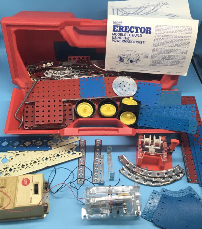 VINTAGE 1977 GABRIEL ERECTOR SET W CASE AND BUILDING GUIDE, NICE CONDITION!