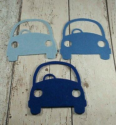 6 large Cars die cut in shades of Blue felt ~ boys, men, applique, card making