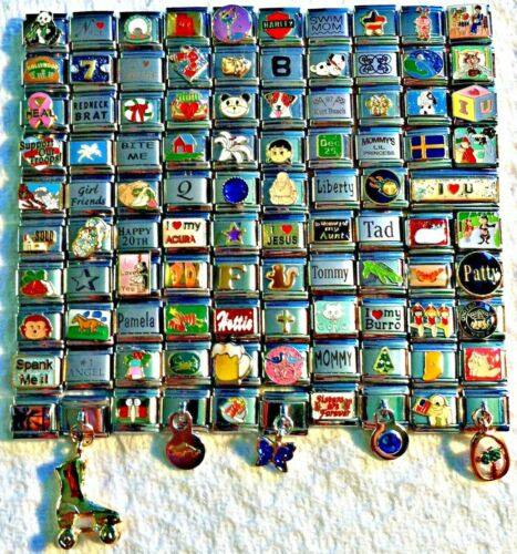 100 Piece ITALIAN  CHARMS 9mm lot # 400 No duplicates -FREE SHIPPING