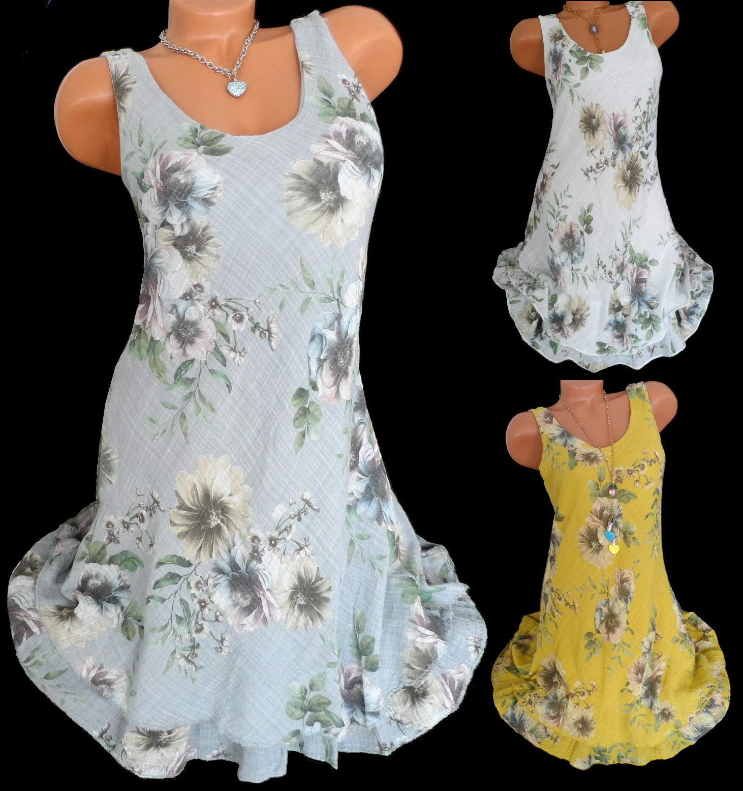 Sommerkleid Lagenlook Blumen Tunika Kleid Damen Kleider ca. Knielang  36 38 40