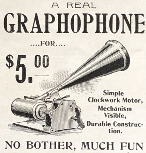 Antique 1899 $5 GRAPHOPHONE~NO BOTHER,MUCH FUN Vtg Columbia Phonograph Print Ad