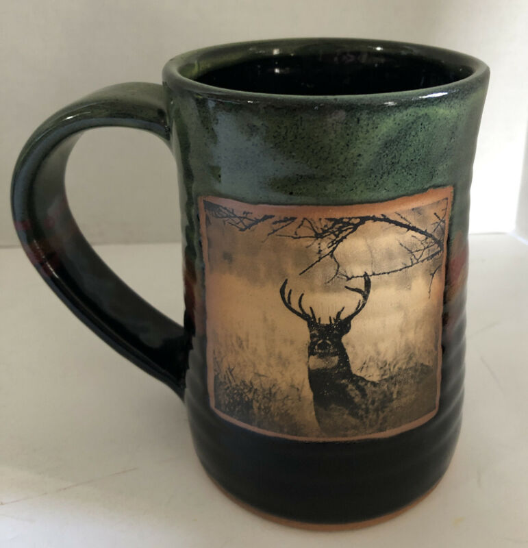 Always Azul Artisan Crafted White tail deer MUG STEIN  Pottery Villa Grove CO