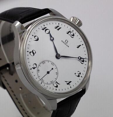 Vintage 1900s Man Omega Swiss pocket watch movement+enamel dial+hands+new case