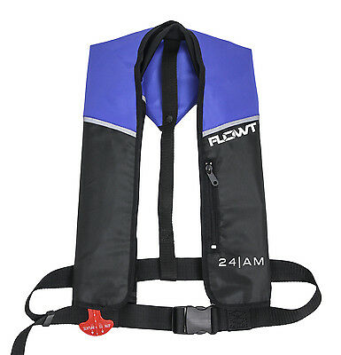 Flowt A/M 24 Automatic/Manual Inflatable Life Jacket Lifevest PFD - Blue/Black
