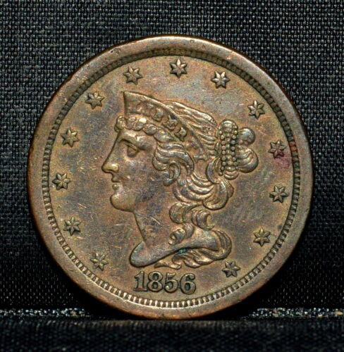 1856 BRAIDED HAIR HALF-CENT ✪ AU ALMOST UNC DETAILS ✪ 1/2C CLEANED R17 ◢TRUSTED◣