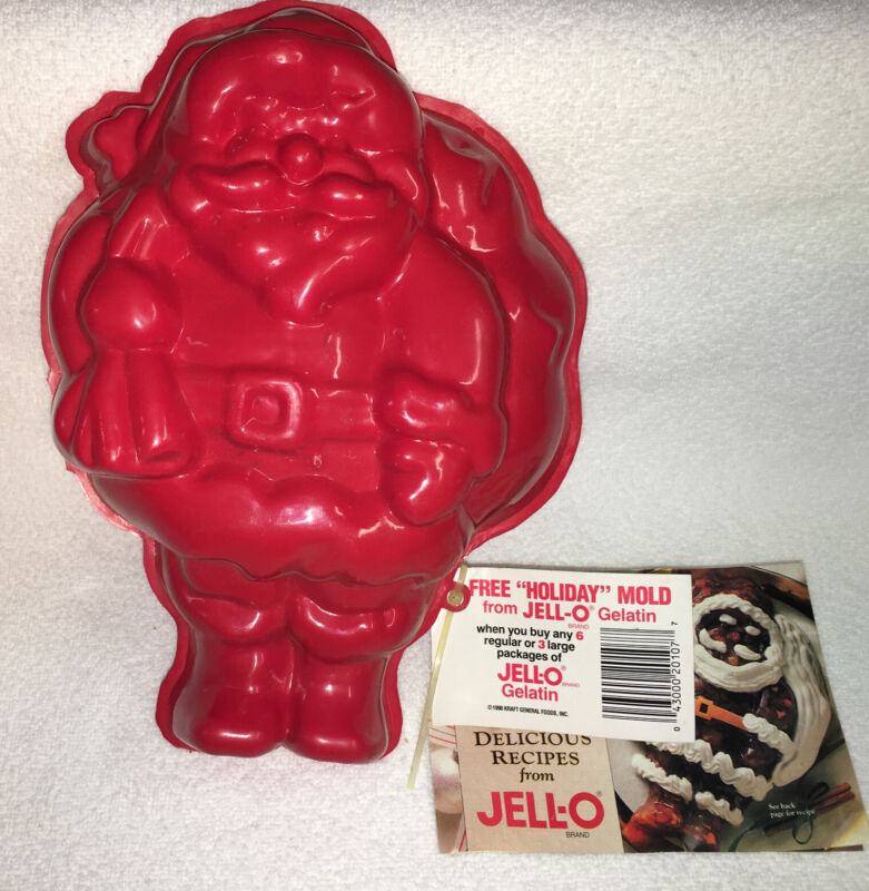 Vintage Plastic Red Santa Jello Mold-Holiday Recipes-Promo-Advertising-11x8-NEW