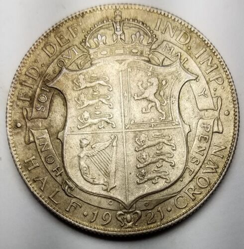 1921 Great Britain 1/2 Crown KM# 818.1A XF+-500 Silver-Free USA Shipping