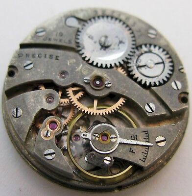 "Illinois "" Precise "" 19 jewels rectangle watch movement for parts OF ... 25.3 mm"