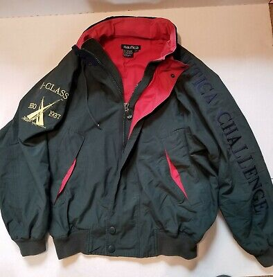 Vintage Nautica Challenge J-Class Jacket Green Red Competition Mens Size L