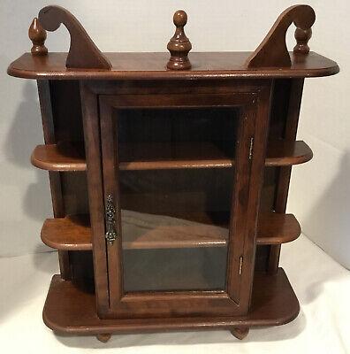 "Vintage 17"" Wood Glass Door Table Top Wall Hanging Display Curio Cabinet 3 Shelf"