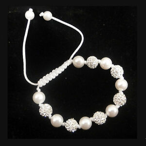 GENUINE PEARL & CRYSTAL SHAMBALLA BRACELET - HIGH QUALITY - BEAUTIFUL GIFT!
