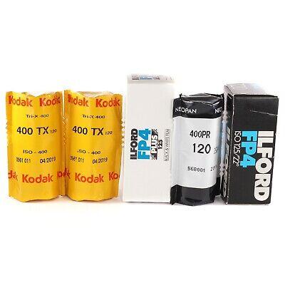 Mix 5x Rolls 120 Film Ilford Kodak Tri-x for Hasselblad Bronica Pentax Mamiya