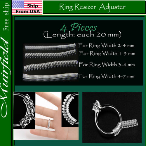 4 pieces Ring Resizer Jewelry Size Reducer Adjuster Invisible US 2mm-7mm