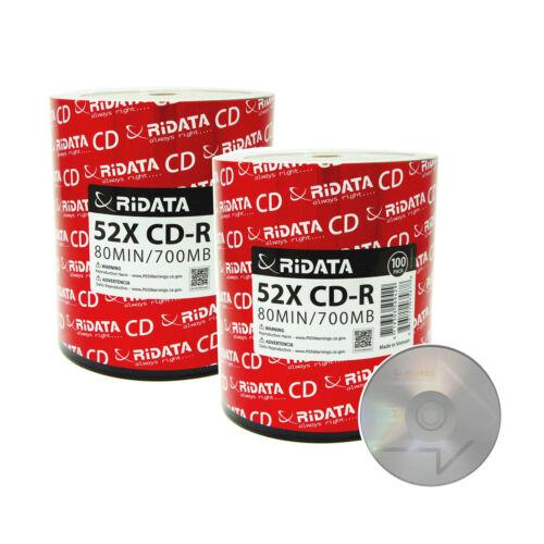 200 Ridata Cd-r 52x 700mb/80min Branded Silver Logo Blank Media Recordable Disc