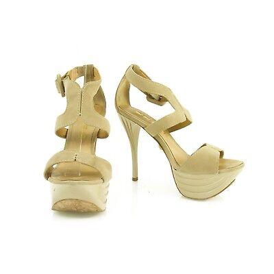 L.A.M.B. LAMB Beige Suede Platform Sandals Shiny Stiletto Ecru Heel sz 7 M Shoes
