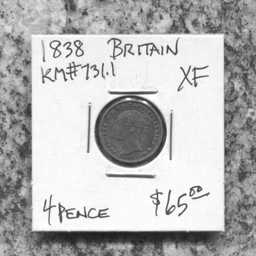 GREAT BRITAIN - BEAUTIFUL HISTORICAL QV SILVER 4 PENCE, 1838, KM# 731.1