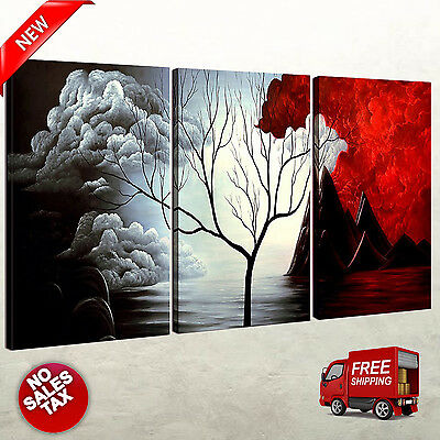 3 Panels Wall Decor Canvas Print Home Art Framed Abstract Landscape (Abstract Decorative Art)