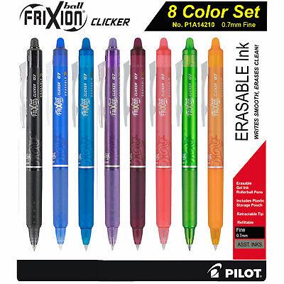 Pilot Frixion Clicker 07 14210 0.7mm Fine Erasable Gel Ink Pens 8 Color Set