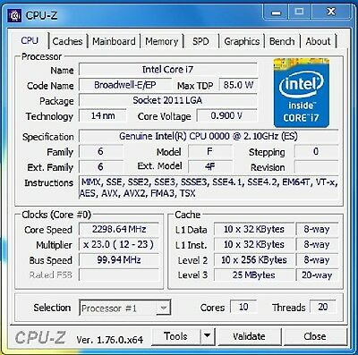 Used, Intel Xeon E5-2630 v4 ES QHVK 2.1GHz 10C LGA2011-3 support C612 X99 i7-5960X for sale  Shipping to United States