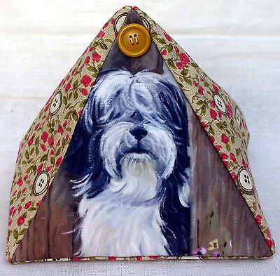 TIBETAN TERRIER DOG NEW FABRIC COTTAGE DOORSTOP SANDRA COEN ARTIST PRINT