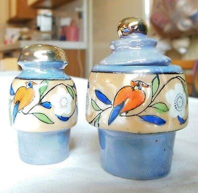 Vintage Blue Porcelain Lusterware Condiment Jar & Matching Shaker Japan