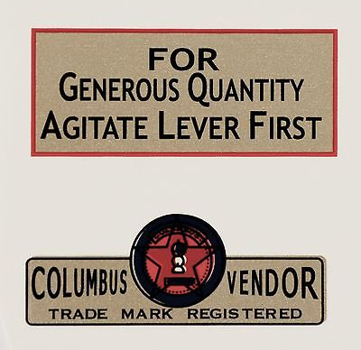 TWO COLUMBUS DECALS, VENDING, COINOP,  WATER SLIDE DECAL # DC 1017