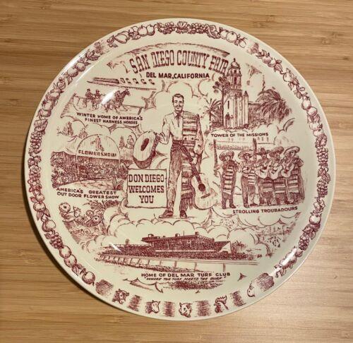Vernon Kilns Souvenir San Diego County Fair, Del Mar, California Dom Diego Plate