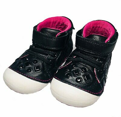 "Stride Rite Toddler Girls ""Jada"" Black Leather High Top Sneakers w/ Jewels Sz 5"