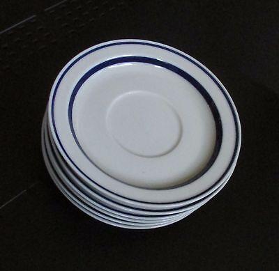 LOT of 6 Sango Orbit Stoneware #223 Saucer w/ Blue Stripe, vntg Retired, Japan