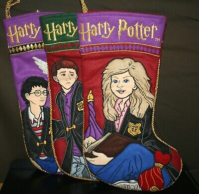 "3 HARRY POTTER CHRISTMAS STOCKINGS HARRY HERMIONE & RON 14.5"" INCHES ENESCO 2001"