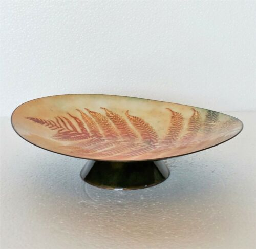 Vintage+Bowl+Dish+Enamel+Art+Botanical+Fern+Design+Custom+Made+Mel+Fran+Harrison
