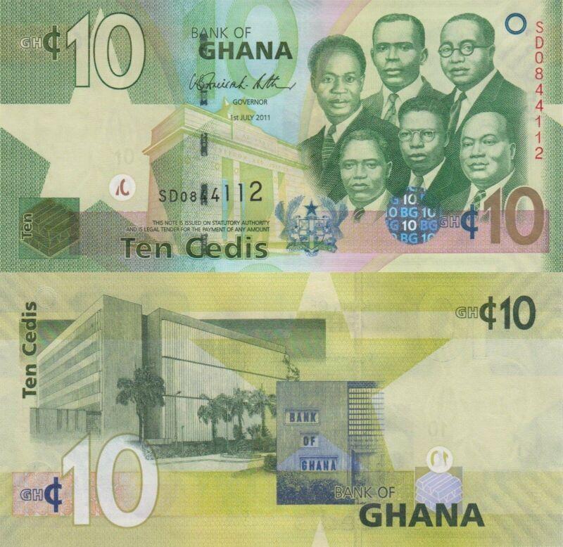 Ghana 10 Cedis (01.7.2011) - Big Six/Bank of Ghana/p39c UNC